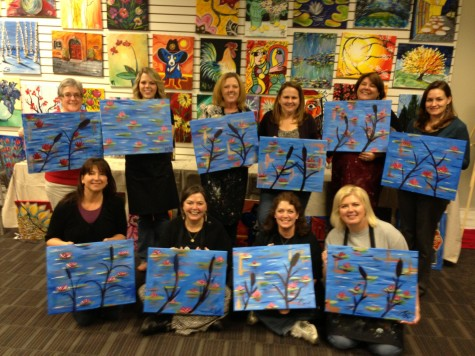 AHS teachers celebrated Brenda Spain's birthday on Feb. 13 at 'Painting with a Twist' and produced these masterpieces based on Monet's 'Lilies'. Pictured back row left to right:  Nancy Chumbley, Morgan Spain, Brenda Spain, Jennifer Fischer, Stacy Short, Leighann Fenter; Front Row:  Kimberly Kass, Phyllis Clark, Paula Smith and Terra Lyon.