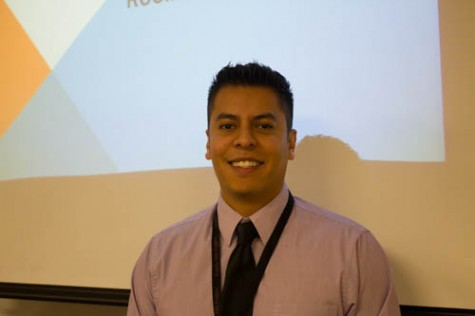 """Spanish teacher, William Green started during the middle of the 2013-14 year, as such he is the """"veteran"""" member of the new teacher crew this year. (Photo by Christopher Piel)"""
