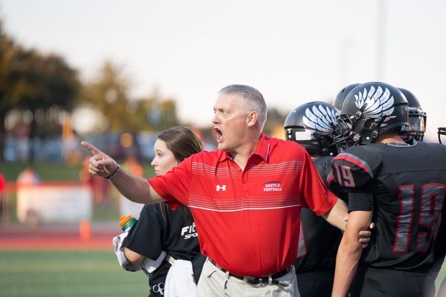 Head Coach Todd Rodgers reacts during a game against Abilene Wylie at Argyle High School in Argyle, Texas on Aug. 29, 2014. (Annabel Thorpe / The Talon News)