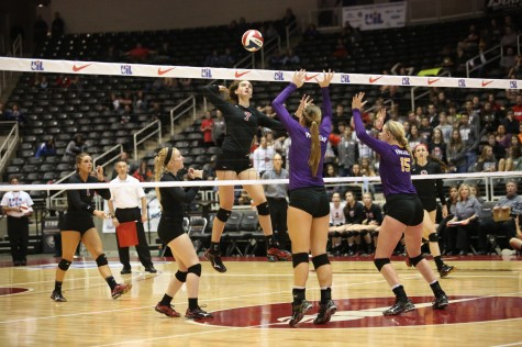 Allison White drills one over against Liberty Hill Robinson in the state semi-finals at Curtis Culwell Center Nov. 21, 2014.  (Annabel Thorpe / The Talon News)