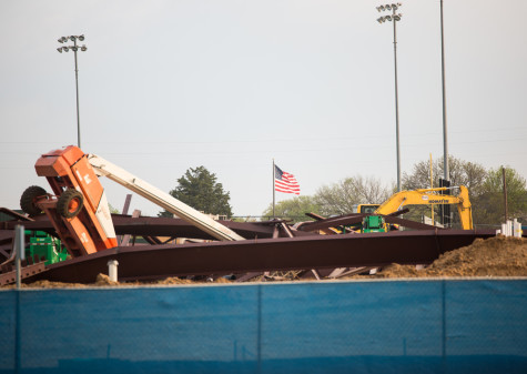 Students, Teacher Witness Collapse of Framework for New Indoor Athletic Complex