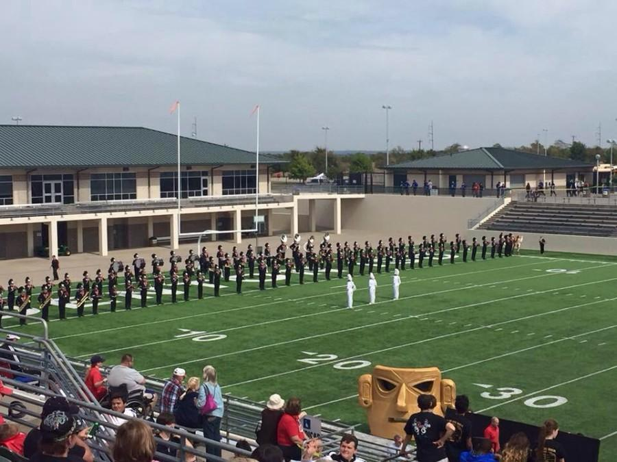 The+Eagle+Marching+band++receives+a+one+for+their+final+marching+competition.+