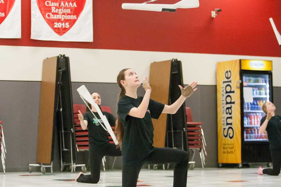 Winter Guard Member Jennifer Kerner on Thursday, Jan. 21 at Argyle High School in Argyle , TX. (Faith Stapleton/ The Talon News )