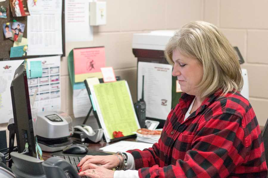 Mrs.Jefferies working hard on Tuesday, Feb. 23 at {Argyle High School} in {Argyle}, TX. (Faith Stapleton/ The Talon News)