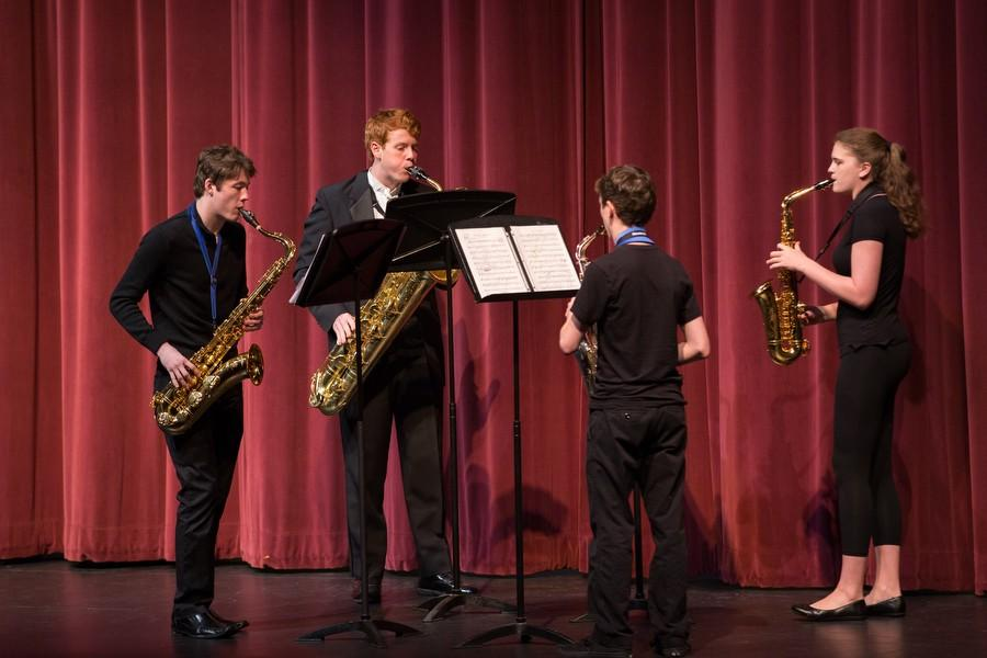 The+saxophone+quartet+performs+during+the+Ensemble+Chamber+Concert+on+Wednesday%2C+March+9+at+Argyle+High+School+in+Argyle%2C+TX.+%28Caleb+Miles+%2F+The+Talon+News%29