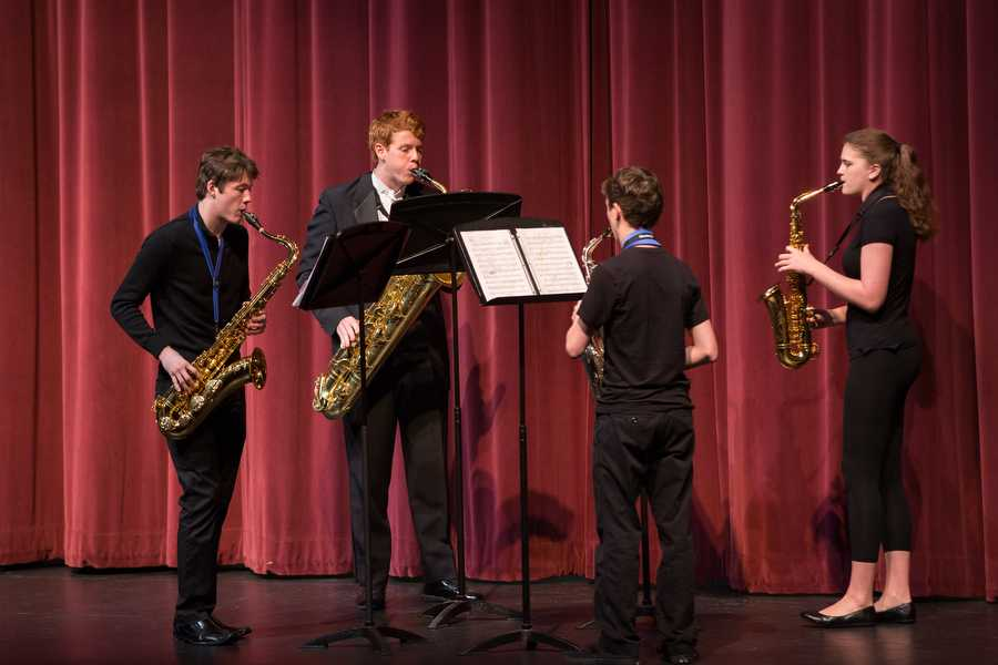 The saxophone quartet performs during the Ensemble Chamber Concert on Wednesday, March 9 at Argyle High School in Argyle, TX. (Caleb Miles / The Talon News)