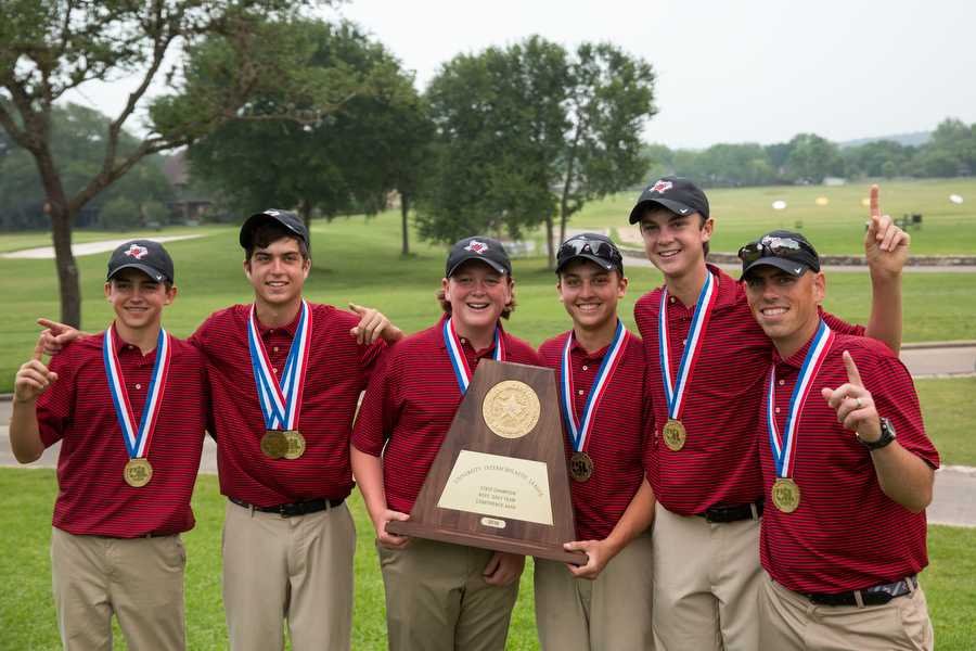 The Argyle golf team placed first at the UIL 4A state championship on Tuesday, April 26 at Onion Creek Club in Austin, TX. (From left to right: Logan Diomede, Tommy Parker, Luke Griggs, Will Blake, Alex Isakson, Coach Brady Bell) (Caleb Miles / The Talon News)