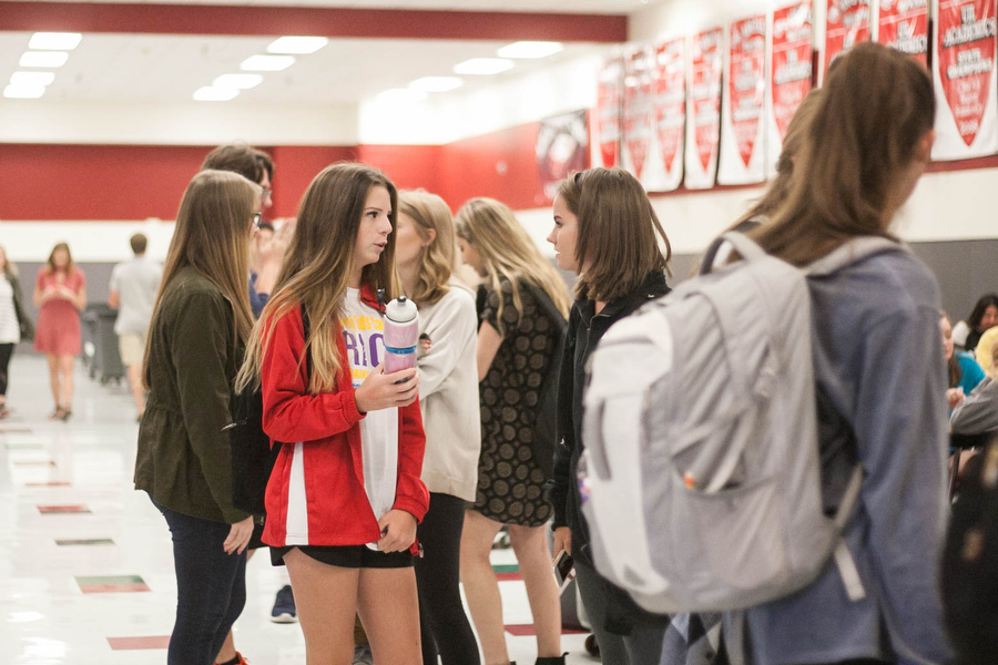Students wait in line for food during A lunch in Argyle High School on Wednesday Sept. 28, 2016. (Faith Stapleton/The  Talon News)