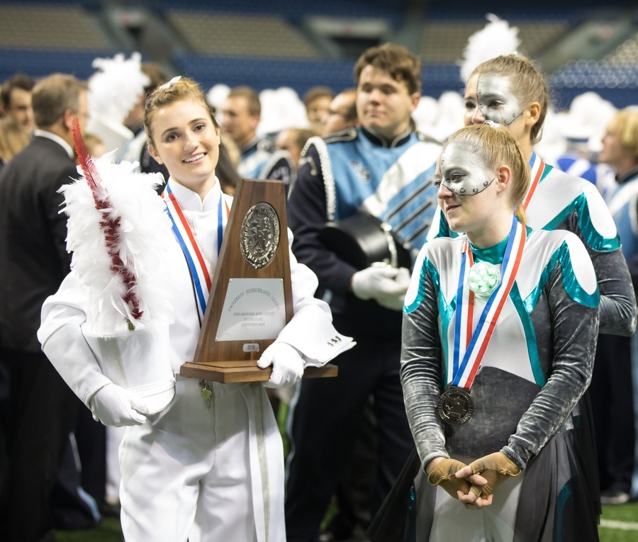 The+marching+band+receives+the+silver+trophy%2C+placing+second+to+Paris+North+Lamar+at+the+UIL+State+Competition+in+the+4A+Division+at+the+Alamodome%2C+San+Antonio+TX+on+Nov.+7%2C+2016.+%28GiGi+Robertson%2F+The+Talon+News%29