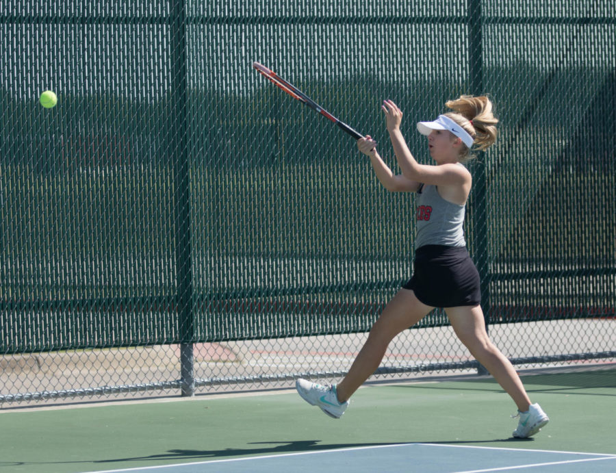 Audrey Livingston takes the court in a tennis tournament at Argyle High School on Oct. 19, 2017. (Jaclyn Harris / The Talon News)