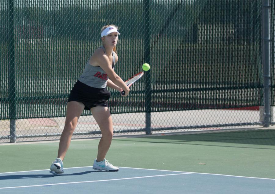 Audrey Livingston at a tennis tournament, on October 19, 2017. (Jaclyn Harris  / The Talon News)