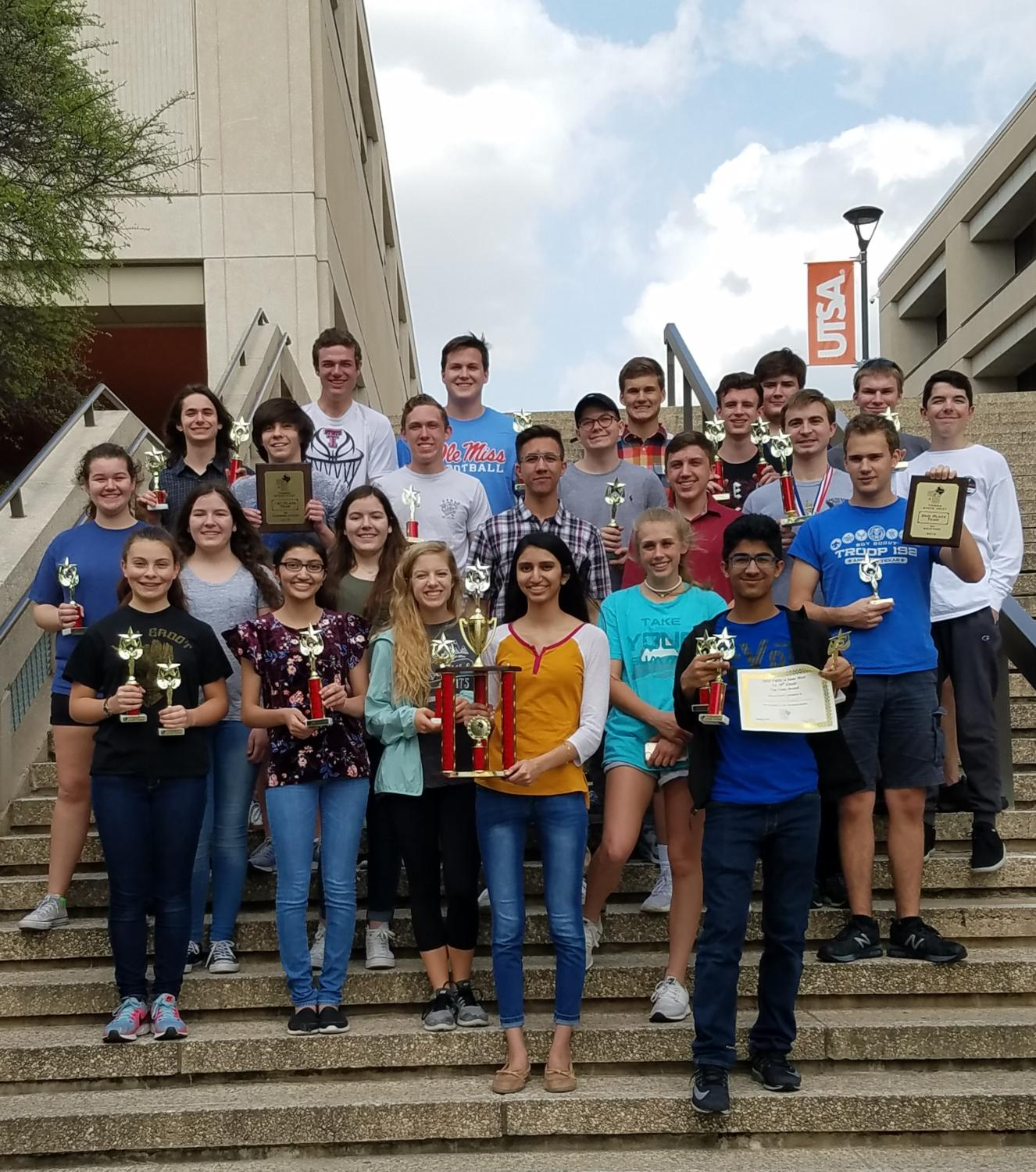 The UIL Math and Science Academic teams take their 16th consecutive TMSCA state title in San Antonio, TX over spring break. (Photo courtesy: Kimberly Kass)