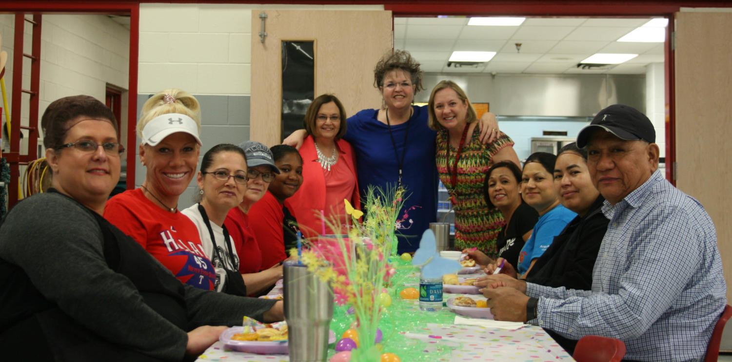 While enjoying the appreciation breakfast, cafeteria workers talk with Challenge Day Club sponser Mrs. Sutton and Dr. Telena Wright on March 27, 2018. (Katie Ray / The Talon News)