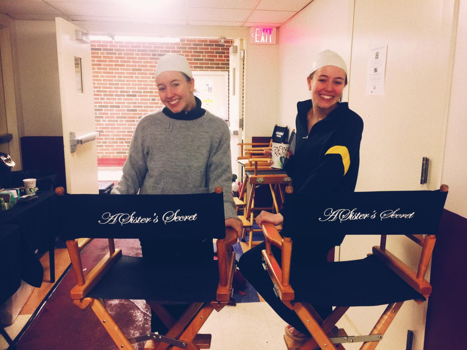Juniors Katy and Carly Haynes smile on set of A Sister's Secret in Morehouse College on Jan. 31, 2018. (Carly Haynes/The Talon News)