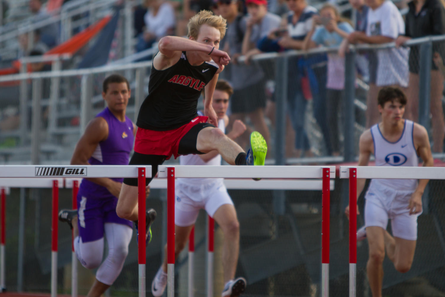 Senior Trent McCloud competes in the District Track Meet on April 12, 2018 at Argyle High School in Argyle, Texas. (Lauren Landrum / The Talon News)