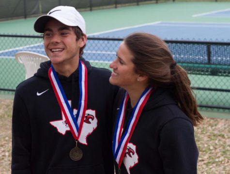 Senior Michael Rigsby and sophomore Zoe Zablosky take first in mixed doubles in the district tournament at North Lakes Recreation Center in Denton, TX on April 5, 2018. (Andrew Fritz / The Talon News)