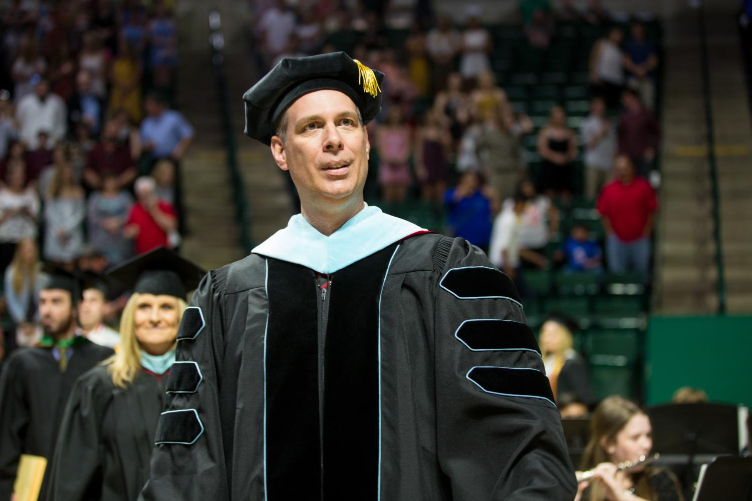 Dr. Hill celebrates his final graduating class at UNT Colliseum  in Denton , Texas, on May 22, 2018. (Sarah  / The Talon News)