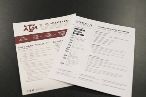 Two admission instruction sheets for Texas public universities, UT and Texas A&M, represent the colleges that are most effected by the Top Ten Percent Law, at Argyle High School, in Argyle, TX, on September 20, 2018. (Faith Stapleton)