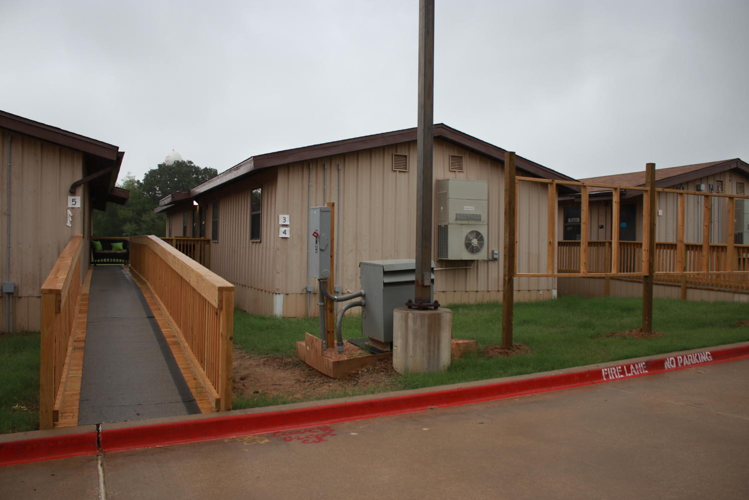 Portables on the elementary school campus serve as a temporary solution for overcrowding.