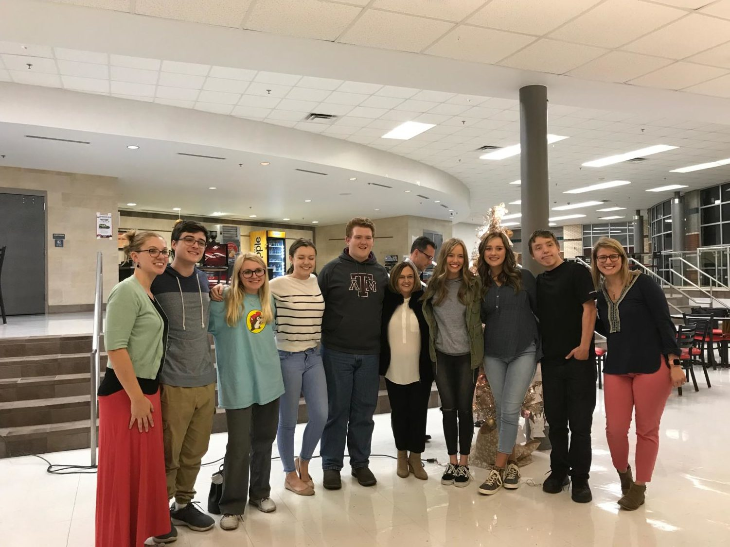 Argyle staff and students both participated in the angel tree. From left to right, they are Daina Hunt, Jefferson Arrington, Savannah Packebusch, Jaclyn Harris, Andrew Fritz, Telena Write, Carly Haynes, Lauren Metcalf, Billy Akos and Karley Pancake.