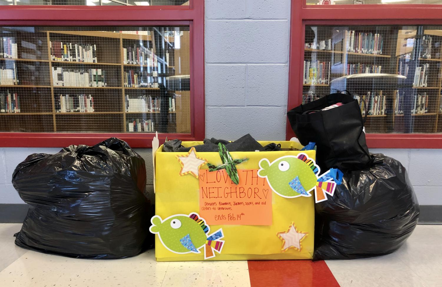 One of the donation boxes for the Love Thy Neighbor clothing drive. (Faith Stapleton/The Talon News).