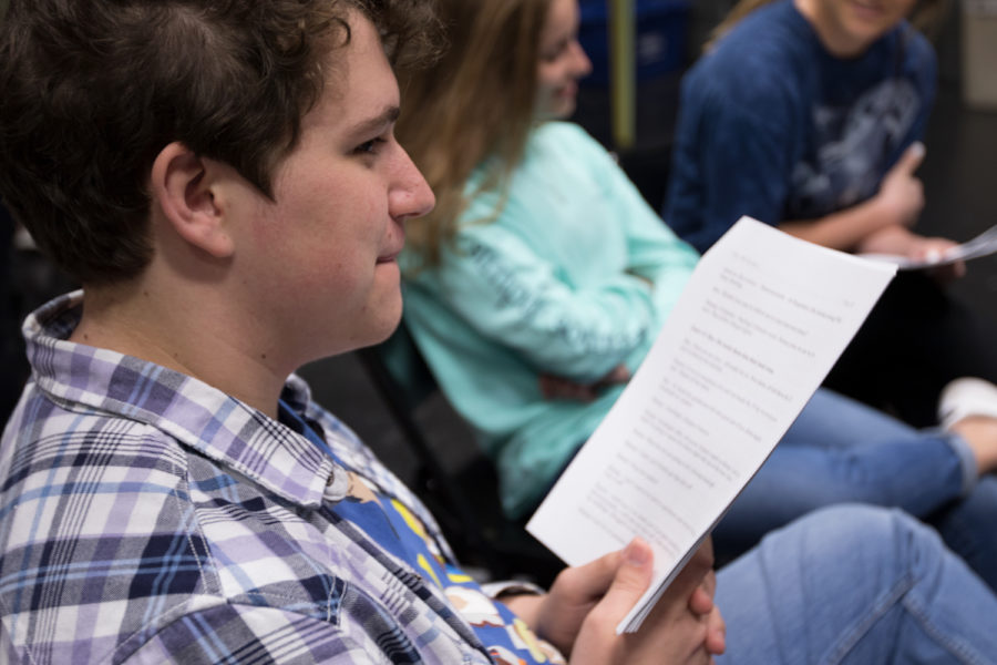 Junior Colby Raasch enjoys the benefits of his small theater class on Nov. 28, 2018. (Jake Pool / The Talon News)
