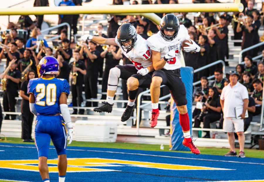 The+Eagles+defeat+the+La+Vega+Pirates+with+a+score+of+49-35+on+September+6th%2C+2019.+%28Photo+by+Campbell+Wilmot%2FThe+Talon+News%29