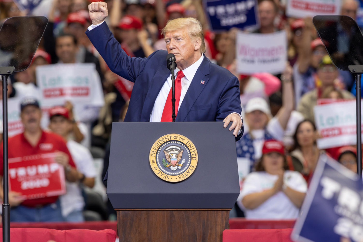 President Trump speaks at his rally at the American Airlines center on Oct. 17, 2019. (Andrew Fritz/ The Talon News)