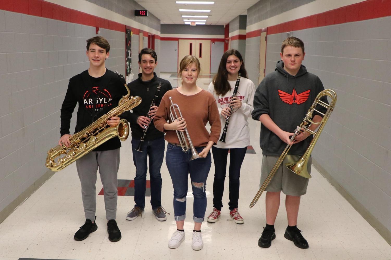 Band students Micah Splain, Zach Tait, Karter Hennigan, Trinity Flaten, and Preston Rushford progress to state band. (Photo courtesy of Pam Arrington)