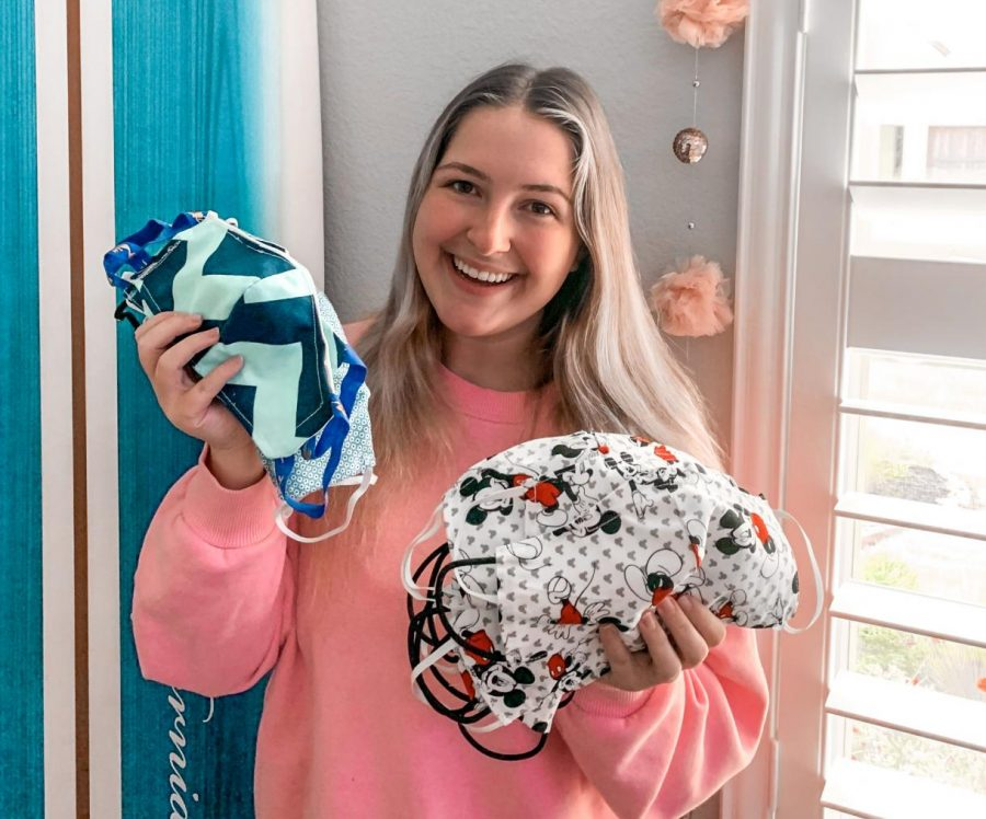 Senior+Hailey+Hains+created+handmade+masks+to+show+her+support+for+local+health+care+professionals+and+first+responders.+%28Photo+Courtesy+Hailey+Hains%29