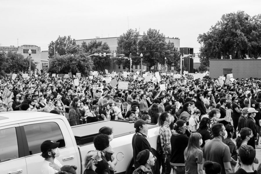 Protesters gather at the Black Lives Matter rally in the Denton square on Monday, June 1 2020.
