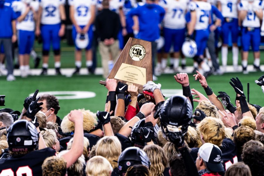 The Eagles celebrate after winning the State Championship title on Dec. 18, at AT&T Stadium in Arlington, Texas. (Nicholas West / The Talon News)
