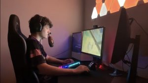 Drew Maupin feels at home with a keyboard and monitor in front of him.At home he uses these tools to play video games, live stream, and earn money.  (Ryan Ruth | Photographer)