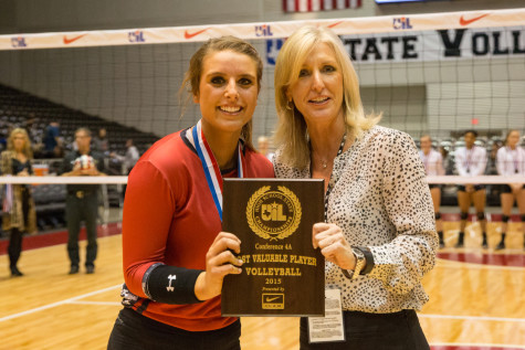 Senior Eighmy Dobbins received the Most Valuable Player after defeating Bushland in a three game sweep on Saturday, Nov. 21 at Curtis Culwell Center in Garland, TX. (Caleb Miles / The Talon News)