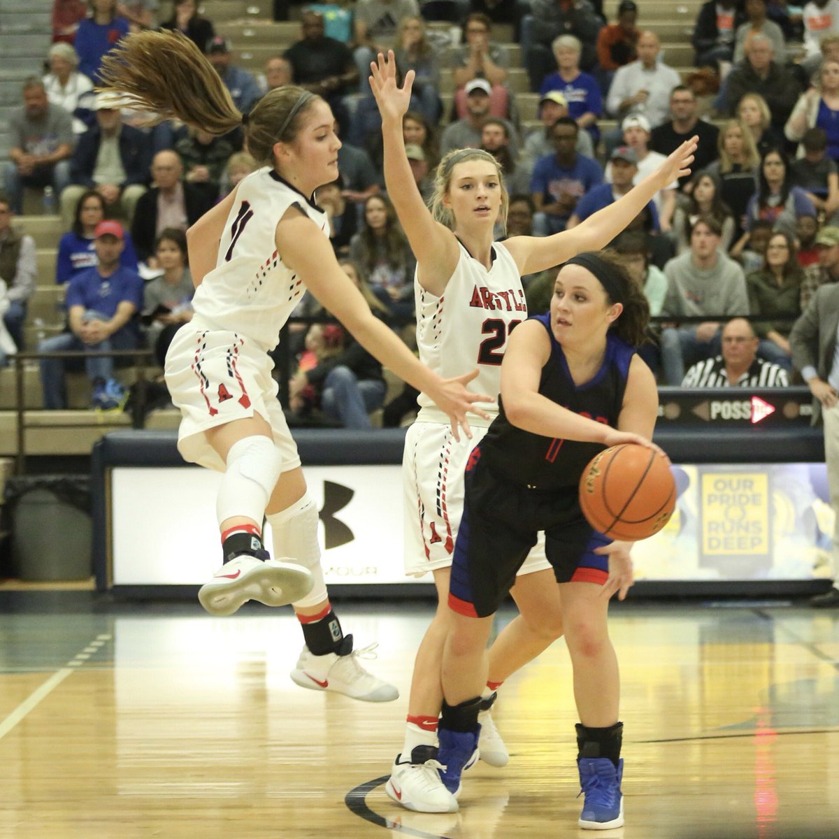 Brooklyn Carl and Madison Ralston block out a Bullard opponent in the Region semifinal game vs the Bullard Panthers at The Fieldhouse, Texas A&M University, Commerce, TX on Feb. 24, 2017 (Caleb Miles/ The Talon News)