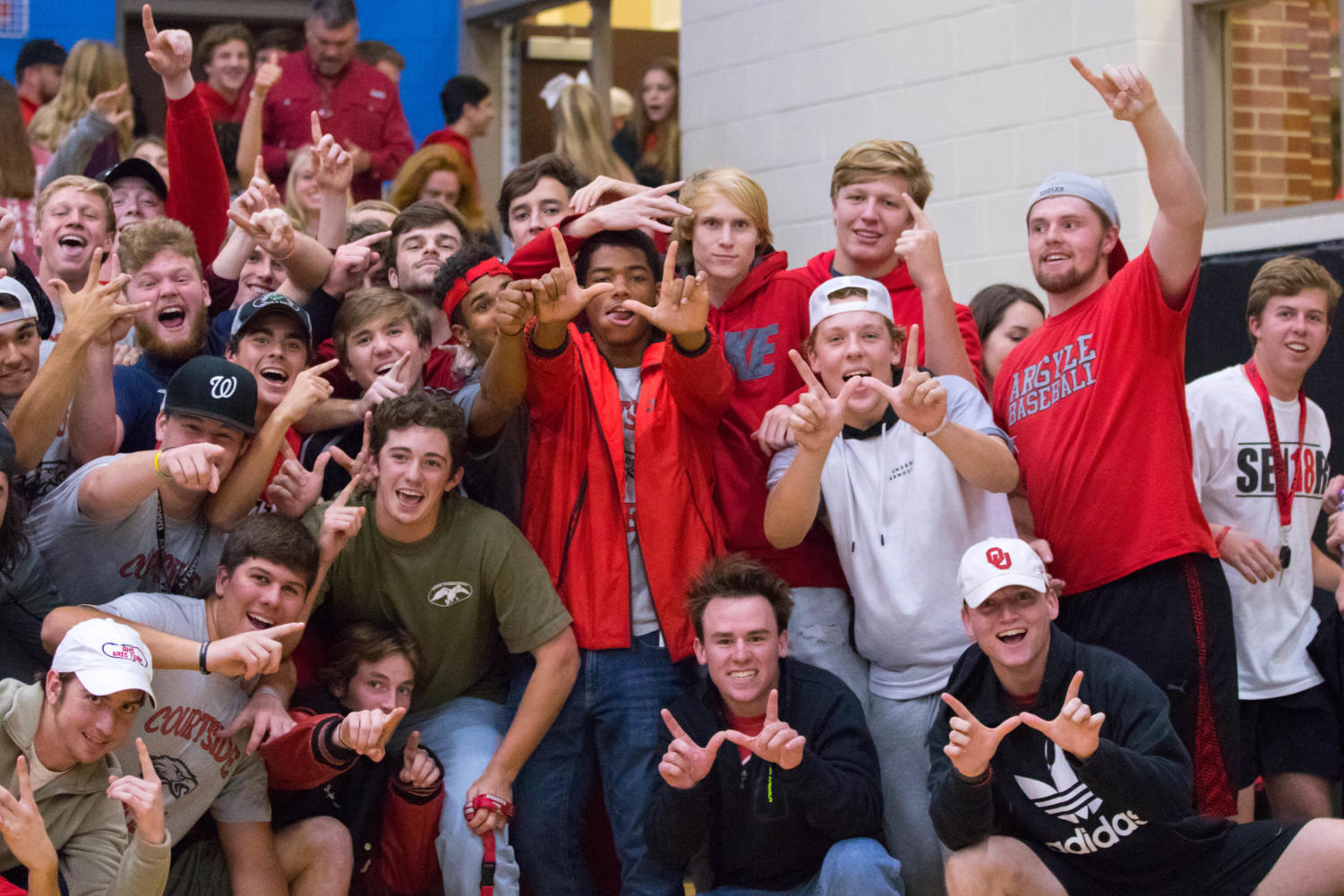The Nest, Argyle's student section cheers on the volleyball team in Decatur, TX on Nov. 7, 2017. (Campbell Wilmot/The Talon News)