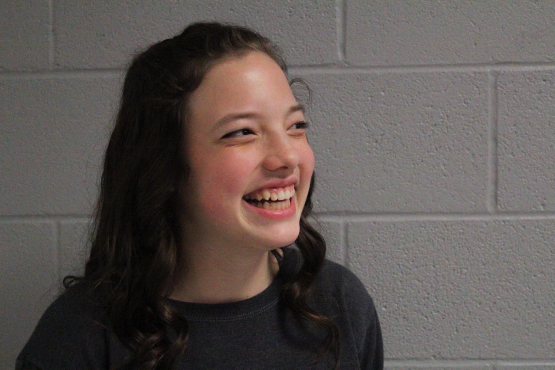 Freshman Peyton Deffenbaugh explains her love for music and singing at Argyle High School on Dec. 6, 2017. (Hayden Calendine  / The Talon News)