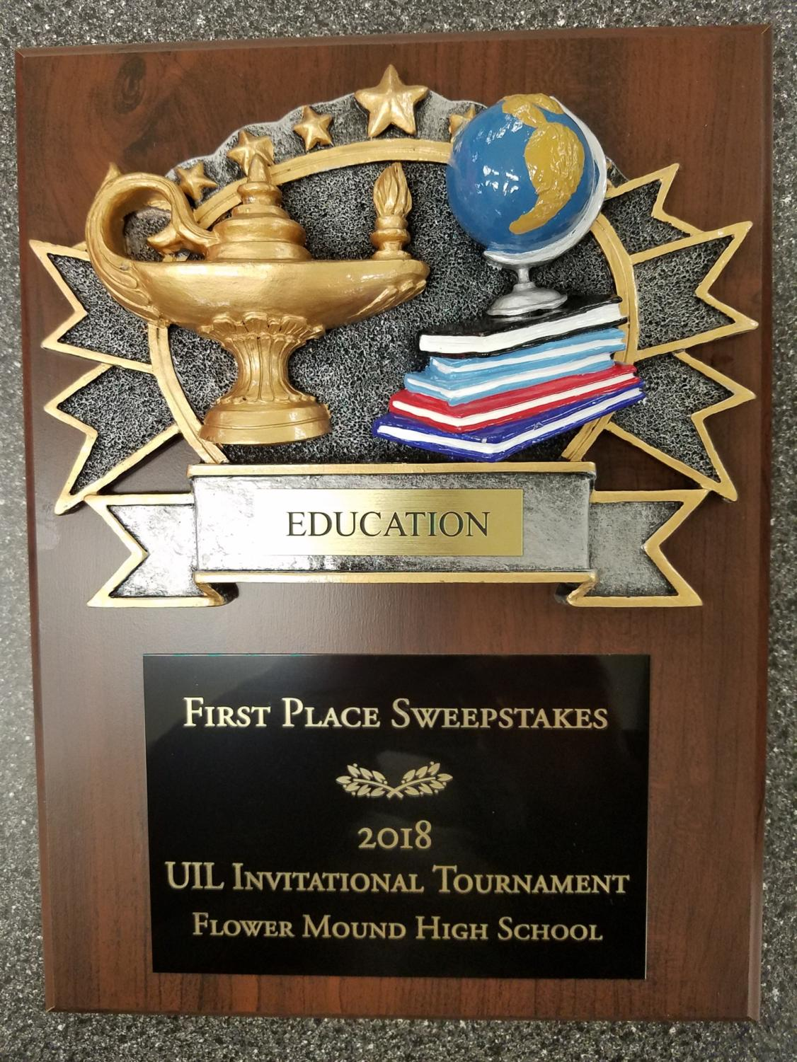 Academic UIL team members bring home a first place title on Jan. 13, 2018 at Flower Mound High School in Flower Mound, TX. (Stacy Short/The Talon News)