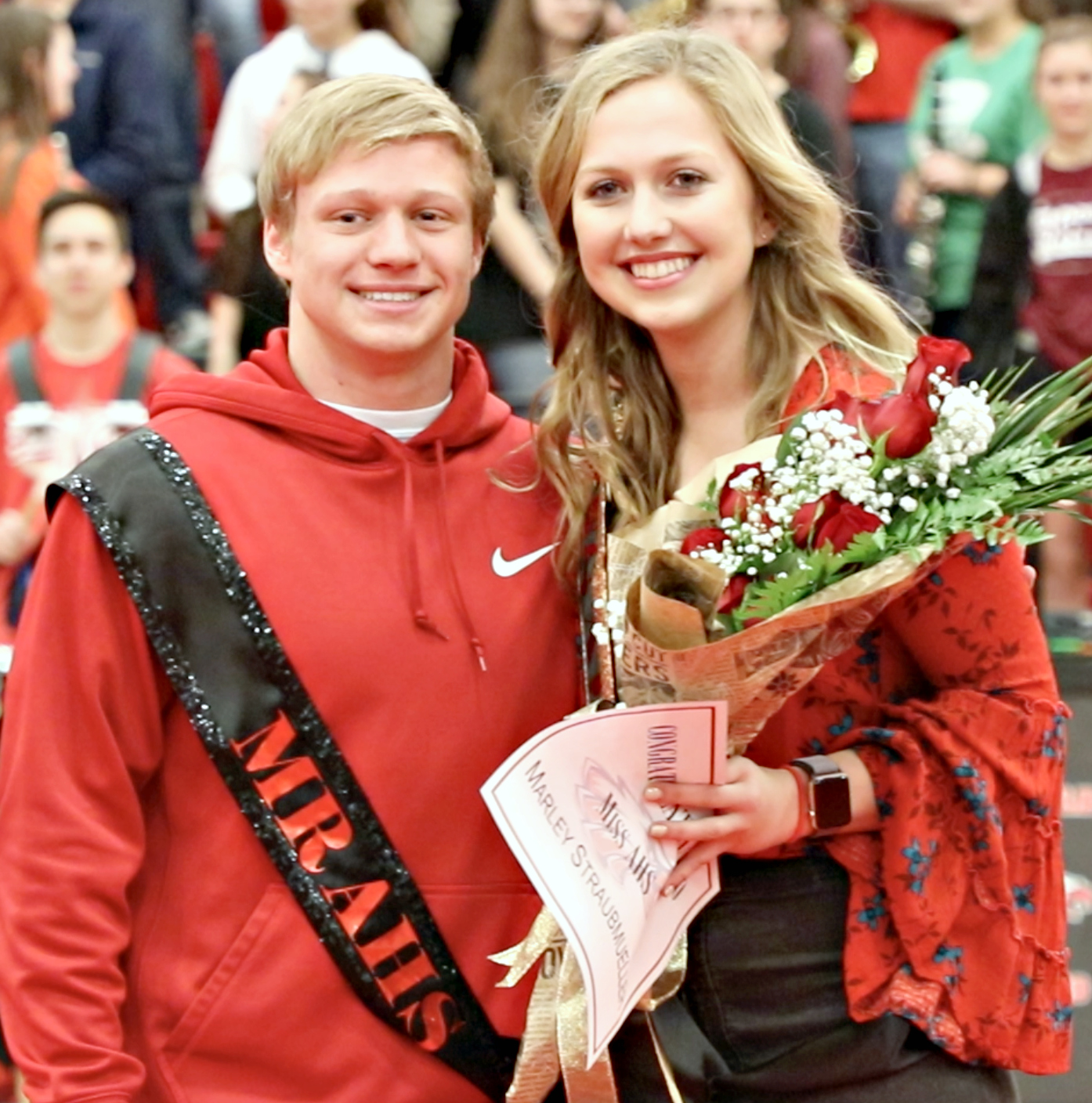 Seniors Cale Nanny and Marley Straubmueller are crowned as Mr. and Miss AHS at the red out pep rally on Feb. 6, 2018 at Argyle High School in Argyle, TX. (Photo by: Pam Arrington)