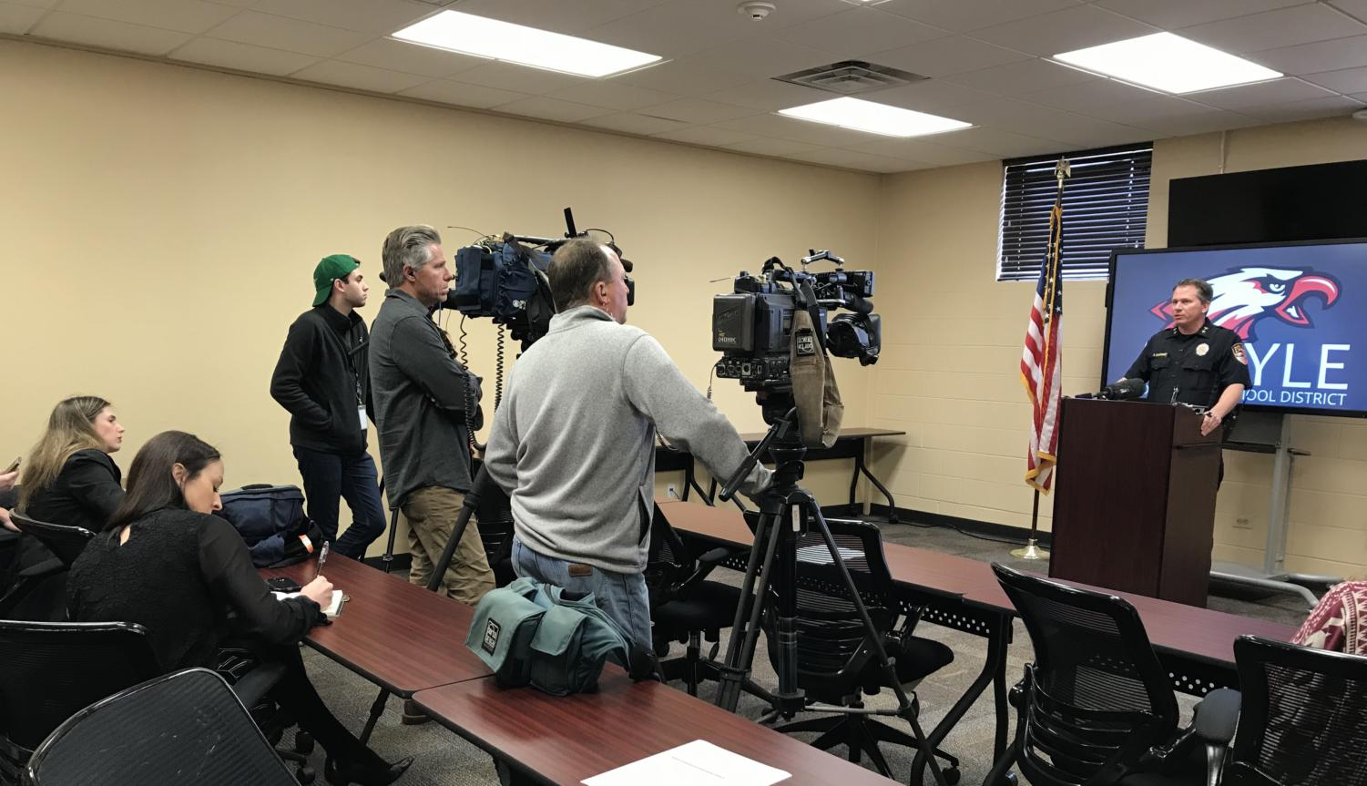 AISD Police Chief Paul Cairney addresses media about the district's armed staff policy at a press conference at the administration building on Thursday in Argyle, TX. (Miranda Downe / The Talon News)