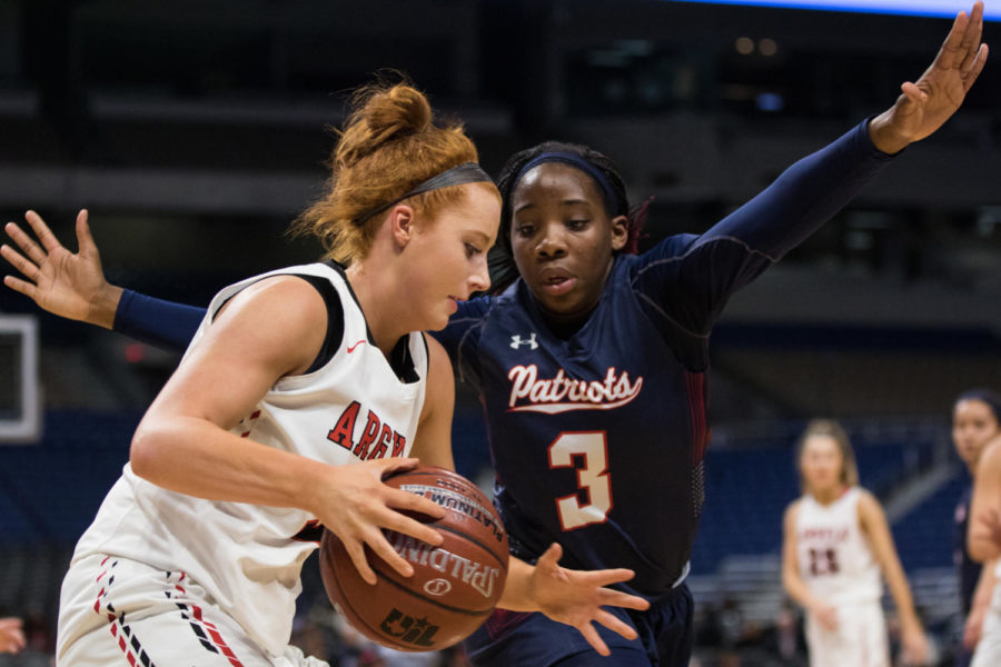 Senior Gabby Standifer goes up for a lay-up in as the Lady Eagles take on Veterans memorial in the UIL State Championship game with a final score of 60-41. (Campbell Wilmot (Campbell Wilmot/ The Talon News)