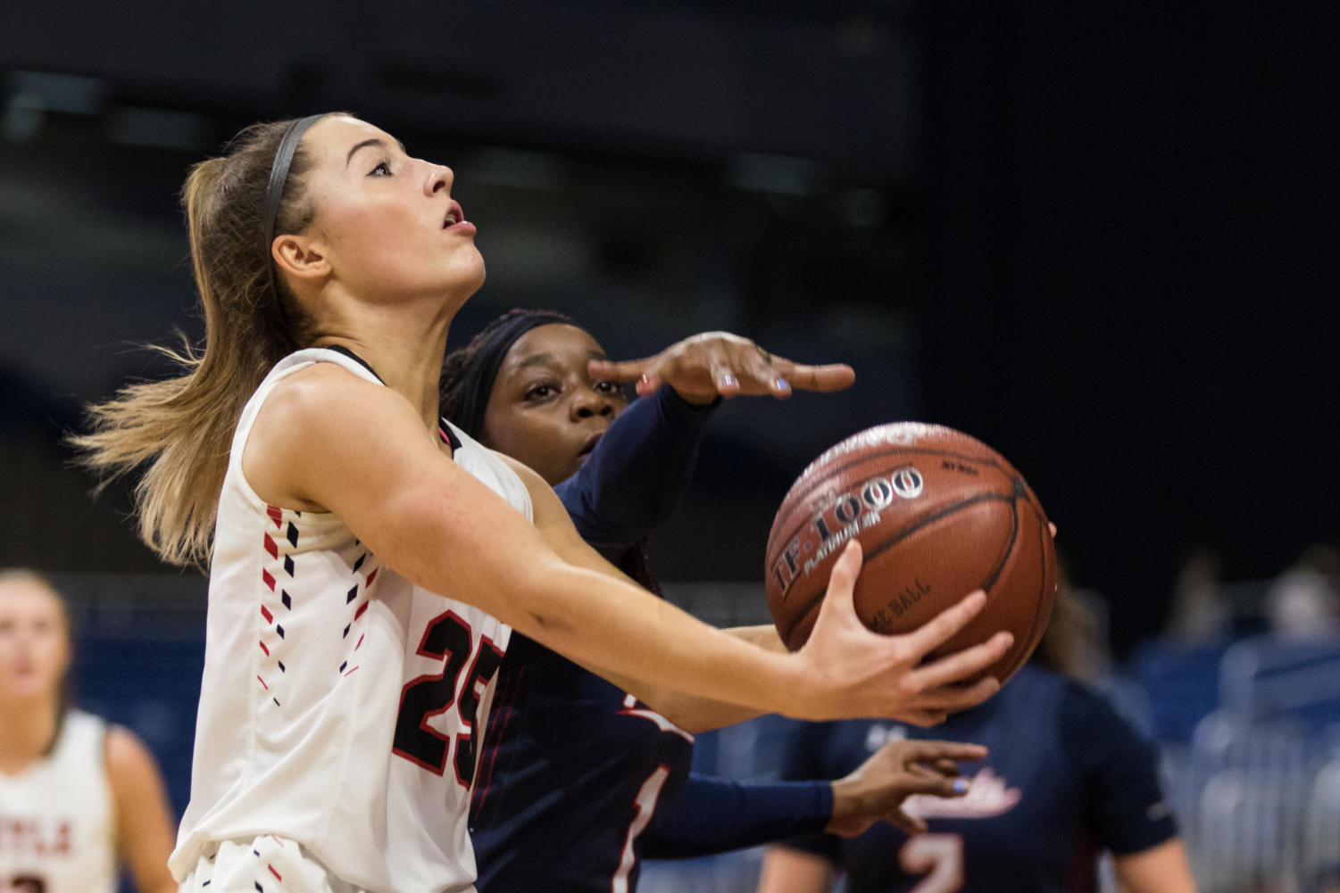 Freshman Sydney Standifer makes a layup for the Lady Eagles as they take on Veterans memorial in the UIL State Championship game.  (Campbell Wilmot (Campbell Wilmot/ The Talon News)