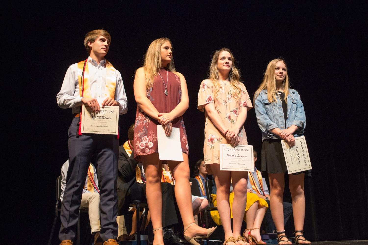 Students celebrate their 2017-18 school year accomplishments at the awards ceremony  Argyle High School in Argyle, Texas, on April, 14, 2013. (Jaclyn Harris  / The Talon News)