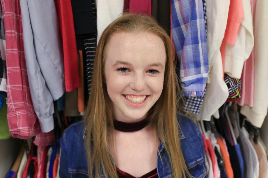 Sophomore Gracen Sieben looks star in her first school musical on Sept. 14, 2018. (Lauren Landrum / The Talon News)