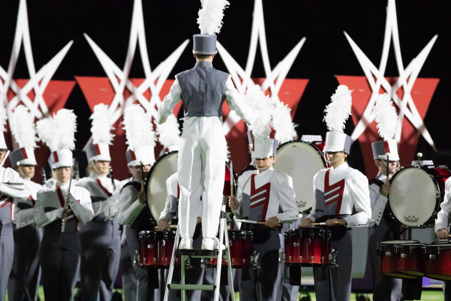 The marching band warms  up before their halftime  show on Sept. 28, 2018, in Sulphur Springs, TX. (Jordyn Tarrant / The Talon News)