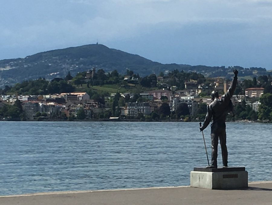 The Freddie Mercury statue stands on the side of Lake Geneva in Montreux, Switzerland in memory of the famous singer. (Trinity Flaten / The Talon News)