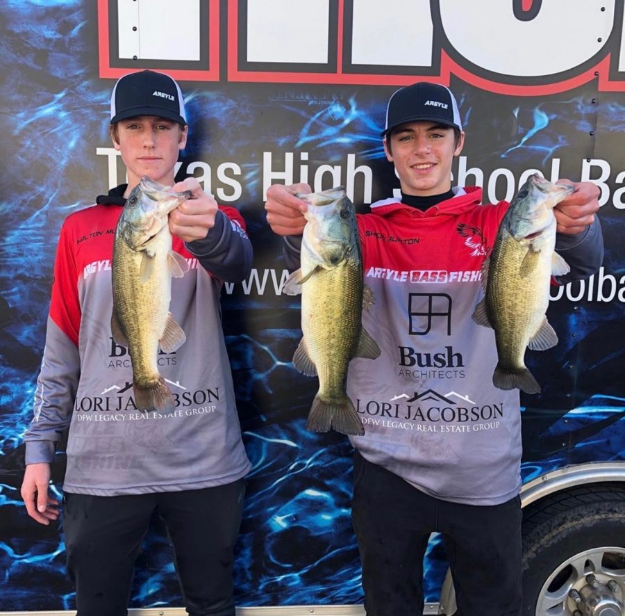 Juniors+Ashton+Burton+and+Holton+Mudd+advance+to+the+state+Bass+Fishing+tournament+on+June+28+%28photo+courtesy+of+Argyle+Bass+Fishing+Team%29.+
