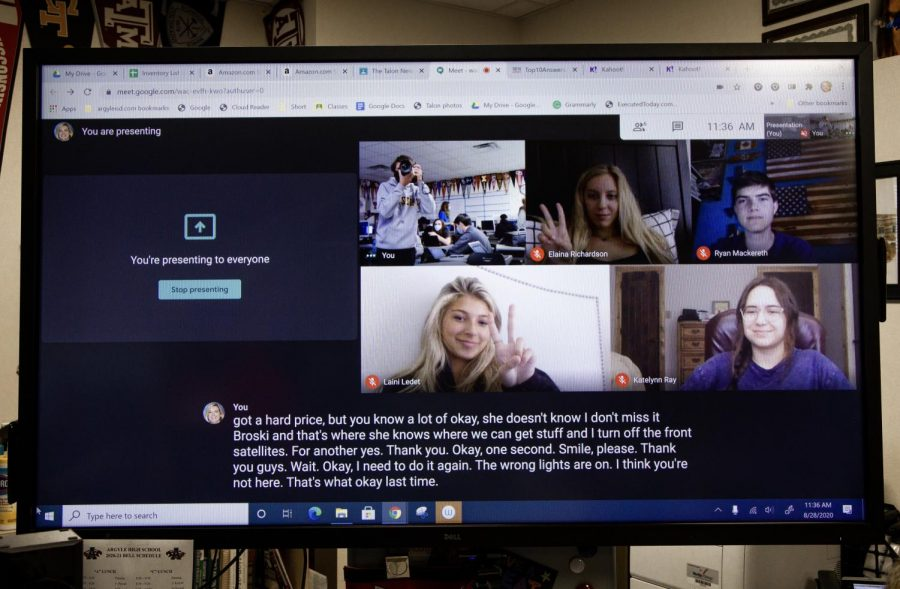 Virtual students meet through google meets (Nicholas West/The Talon News)