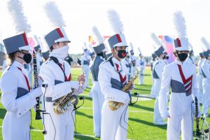 The Argyle band performs at their first competition of the season in Ponder, TX on Oct. 31, 2020. (Nicholas West / The Talon News)