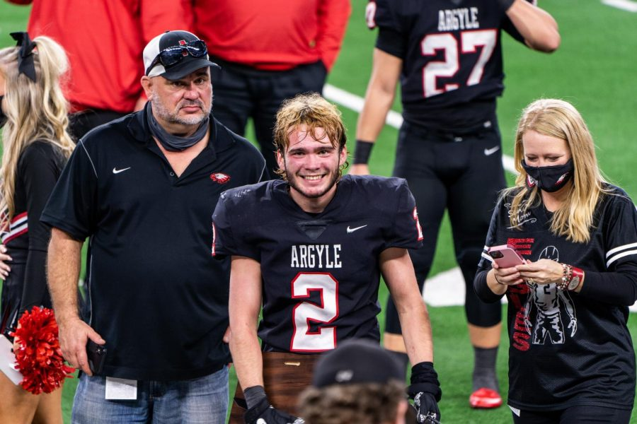 Senior Zach Stewart is named the Defensive MVP of the State Championship game against the Lindale Eagles at AT&T Stadium in Arlington, Texas on Dec. 18, 2020. (Nicholas West / The Talon News)